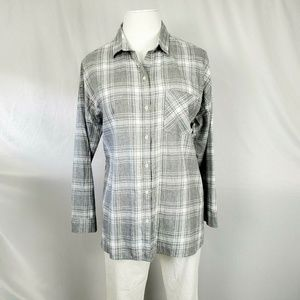 Old Navy Shirt Gray Flannel Plaid C1327
